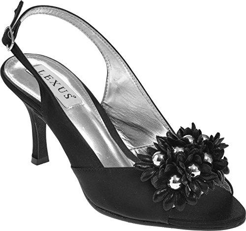 Mid Trim Med Og Hæl Peep A003 Svart Sandal Slingback Donna Lexus Blomster Toe 8xEwYfF8