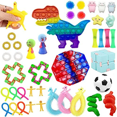 Sensory Pop Fidget Toys Set 42 Pack Autism Special Figit Toys Packages for Kids Adult Stress Relief and Anti-Anxiety Toy, Squeeze Widget for Relaxing Therapy Perfect for ADHD Birthday Gift Party Favor