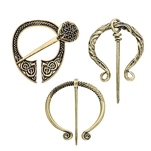 Idealcoldbrew 3 Pack Vintage Viking Brooches Pins, Decorative Scarf Cloak Shawl Buckle Clasp Pin Brooch, Spring Clothes Costume Decors Fashion Jewelry for Women Girls, Antique Gold