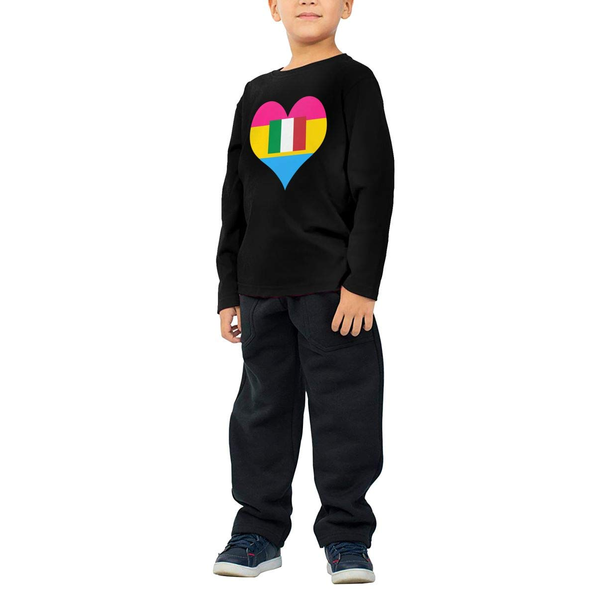 CERTONGCXTS Childrens Pansexual Heart Italian Flag ComfortSoft Long Sleeve Shirt