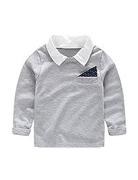 Mud Kingdom Little Boy Shirt Long Sleeve Pullover Turn-Down Collar