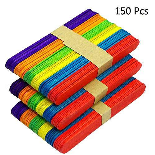 Oruuum 150PCS 6 Natural Jumbo Colored Wood Craft Sticks, Great for DIY Crafts Creative Designs