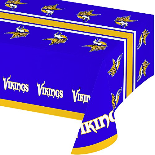 Creative Converting Officially Licensed NFL Plastic Table Cover, 54x102, Minnesota Vikings ()