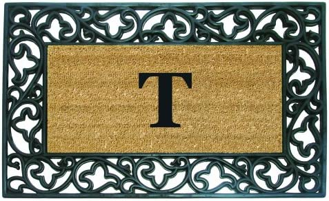 Nedia Home Acanthus Border with Rubber Coir Doormat, 22 by 36-Inch, Monogrammed T