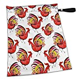 FSXDOG Color Fire Cock Stylish Waterproof Wet Dry Bags Zipper Diaper Pail Bag for Reusable Diapers Or Laundry