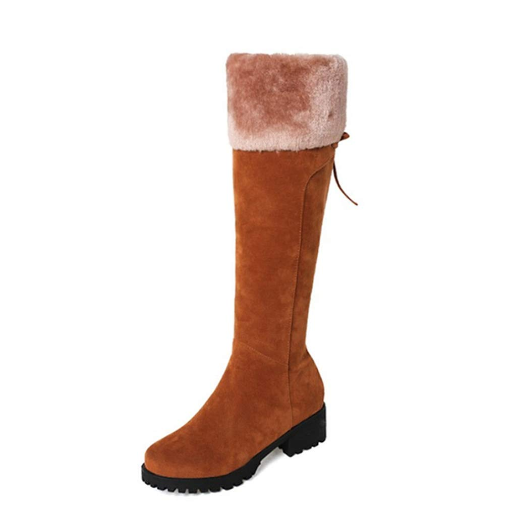 Brown Fay Waters Women's Nubuck Leather Warm Knee-high Boots Fur Chunky Mid Heel Round Toe Winter Snow Booties