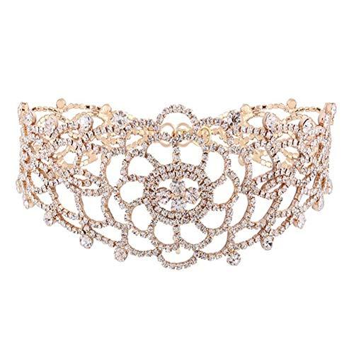 - soAR9opeoF Hollow Carved Flower Choker, Fashion Women Rhinestone Choker Necklace Jewelry Decor Golden