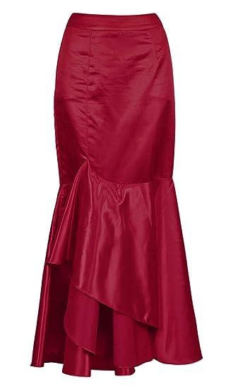a5547a667e74d1 Longue Jupe sirène en Satin Rouge vin élégante Gothique Fashion ...
