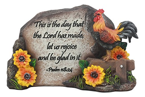 Ebros Rustic Country Chicken Rooster On Wooden Fence with Sunflowers and Bible Verse Desktop Plaque Statue As Inspirational Decor (Rooster Psalms - Rooster 24