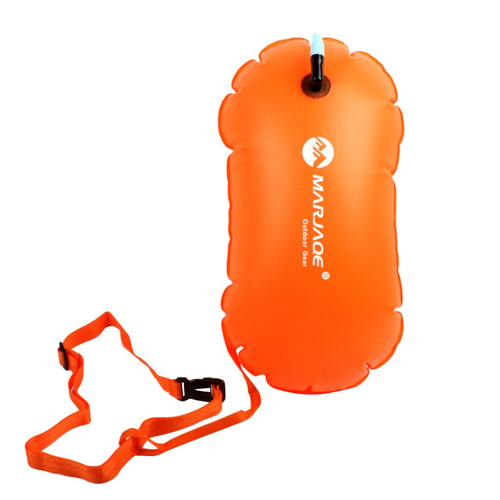 Baoblaze Waterproof Air Bag Swim Buoy Tow Float Inflatable Swimming Bag with Waist Belt - Lightweight & Highly Visible