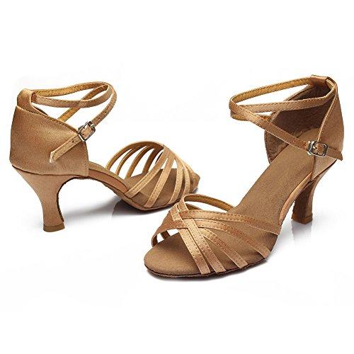 ... Latin Tanzschuhe Modell 213 D7 Satin Schuhe Beige Dance Hroyl Ballsaal  Damen 7cm WRqFFT