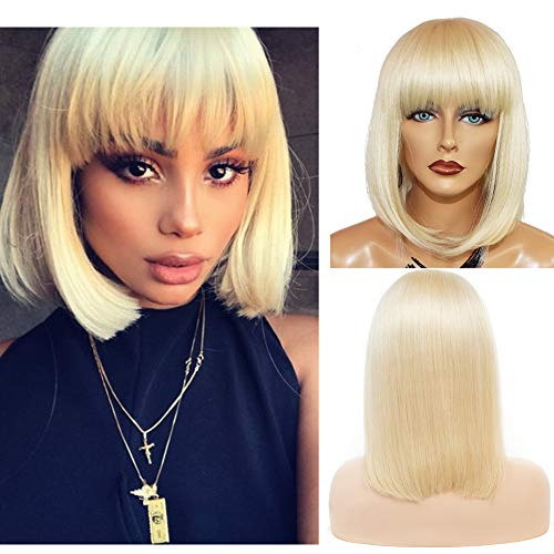 Loviness Short Bob Wigs with Bangs Human Hair Remy Straight Glueless 180% Density Lace Front Wigs 13X4 Lace Frontal Pre-Plucked 613 Blonde 8 inches