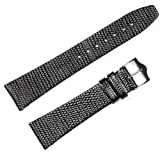 Lizard Grain Watchband - Flat - Black 19MM