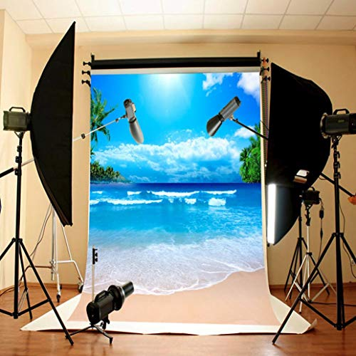 vmree Indoor Photographic Studio Backdrop, 3D Sunny Beach Themed Photo Shooting Background Props Wall Hanging Screen Post-Production Curtain Folding & Washable Art Cloth 3x5FT. (F) -