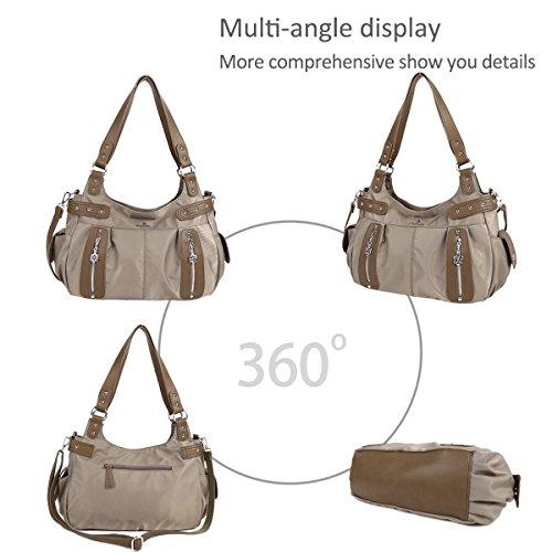 Mano Vintage Múltiples Bolsas Con Caqui Hombro Cuero Lavado Nicole amp; Compartimentos Crossbody Bolso De Doris qw17X4C8