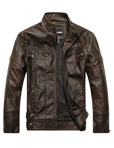 PU Yeokou Faux Zipper Slim Jackets Down Collar Brown Stand Leather Coats Men's 0xaxnWcf