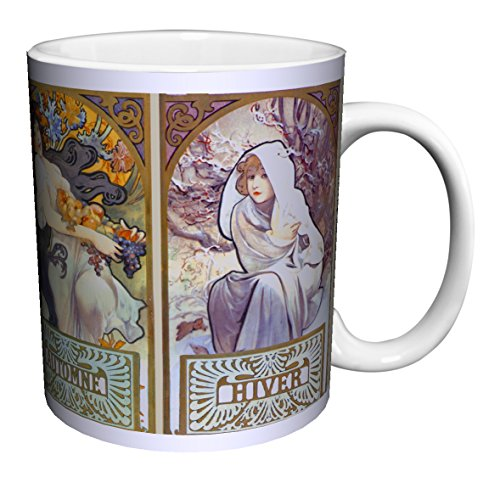 - Alphonse Mucha Four Seasons 2 (Les Saisons II) Art Nouveau Ceramic Gift Coffee (Tea, Cocoa) 11 Oz. Mug