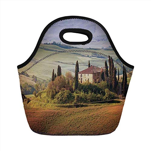 (Portable Bento Lunch Bag,Tuscan,Tuscany Seen From Stone Ancient Village of Montepulciano Italy in Cloudy Day,Green and Brown,for Kids Adult Thermal Insulated Tote Bags)