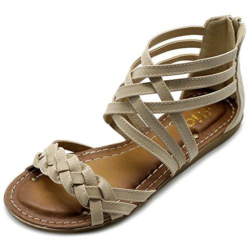 Ollio Women's Shoe Gladiator Strappy Zip Closure Multi Color Sandal M1803(7 B(M) US, ()
