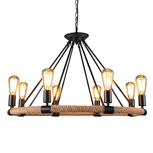 OYI Hemp Rope Style Pendant Light, 8 Lights Retro Industrial Chandelier Metal Island Light Chain Ceiling Lamp E26 Socket