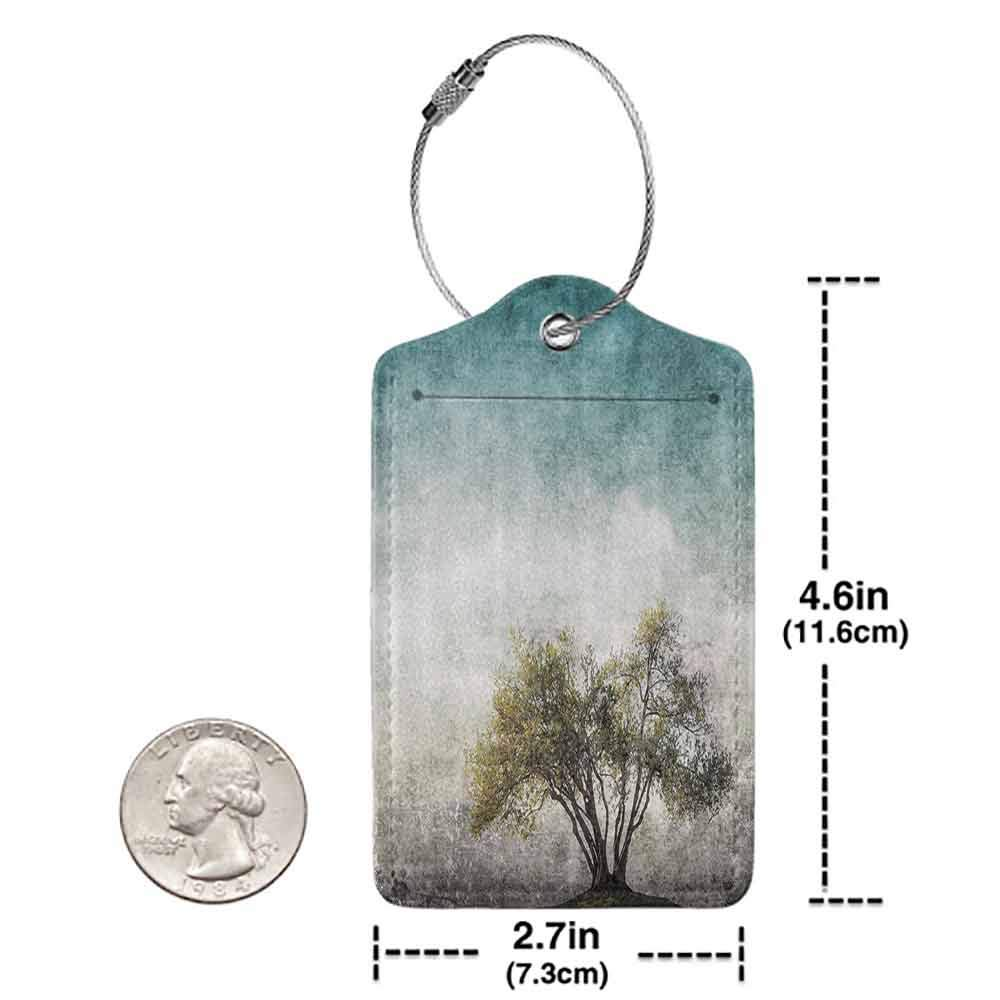 Modern luggage tag Tree of Life Decor Collection Grunge Landscape with Single Tree and Stained Retro Background Rustic Home Suitable for children and adults Teal Green Beige W2.7 x L4.6