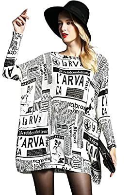 Ilishop Women's Baggy Newspaper Print Knit Pullover Dress Onesize Sweaters