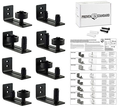 Barn Door Floor Guide Stay Roller - Black Powder Coated Adjustable Wall Mount Guide with 8 Different Setups - Perfect Fit for ALL Barn Doors - Bottom Bracket Sits Flat On Floor - No Guess Zero (Adjustable Bottom Roller)