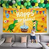 70''×40'' Super Huge Dinosaur Birthday Party Banner, Thick Cloth Reusable Dinosaur Birthday Banner, Dinosaur Party Supplies, Multifunctional Dinosaur Party Decorations(Yellow Color)