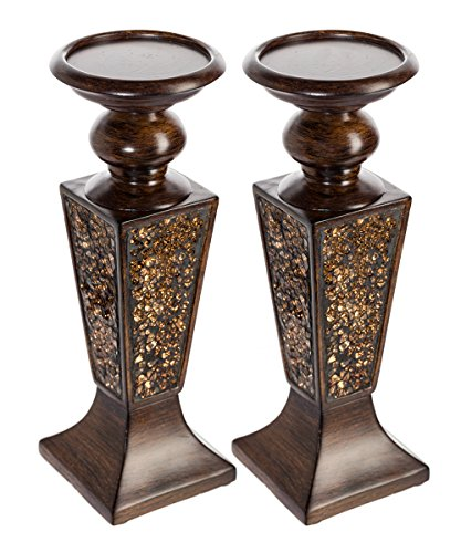 Creative Scents Schonwerk Pillar Candle Holder Set of 2- Crackled Mosaic Design- Functional Table Decorations- Centerpieces for Dining/Living Room- Best Wedding Gift ()