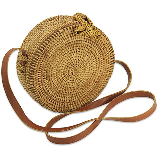 GraceFINE Round Hand-Woven Ata Rattan Bags with Bow (Hand Woven Bag)