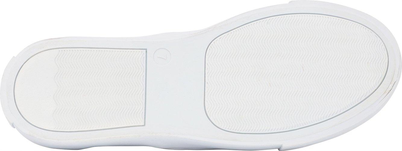 Cambridge Select Women's Perforated Slip-On Closed Round Toe Perforated Women's Laser Cutout White Sole Flatform Fashion Sneaker B07BWPGTCD 8 B(M) US Black Pu 91b917