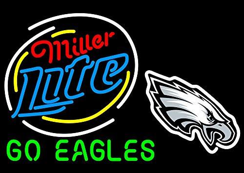 "UrbyTM 24""x20"" Sports Go PE Philadelphia Team Eagle Miller Lite Neon Light Sign Beer Bar Handicraft SP167"