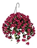 House of Silk Flowers Artificial Bougainvillea Hanging Basket, Violet/Fuchsia