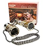 3 x 25 Opera Glasses w/ Crystal Clear Optic (CCO) Golden with Silver Trim and Necklace Chain by HQRP