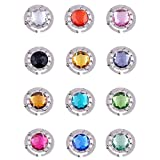 (US) Purse Hooks , Set of 12 pcs Colorful Purse Hooks Crystal Diamond Folding Section Storage Handbag Hook Hanger Holder ( 12 pcs Mixed )