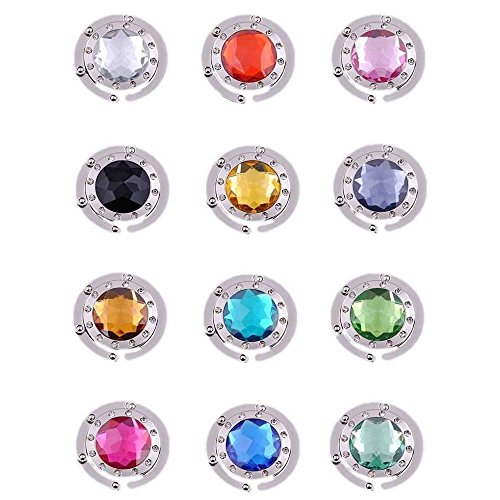 Purse Hooks , Set of 12 pcs Colorful Purse Hooks Crystal Diamond Folding Section Storage Handbag Hook Hanger Holder ( 12 pcs Mixed )