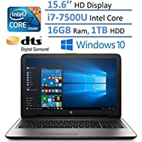 HP Notebook 15.6 HD Laptop PC, Intel Core i7-7500U, 16GB RAM, 1TB HDD, Intel HD Graphics 620, HDMI, Bluetooth, DVD +/- RW, DTS Studio Sound, Up to 8 hours Battery life, Windows 10