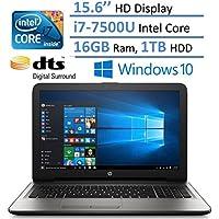 HP Notebook 15.6 HD Laptop PC, Intel Core i7-7500U, 16GB RAM, 1TB HDD, Intel HD Graphics 620, HDMI, Bluetooth, DVD +/- RW, DTS Studio Sound, Up to 8 hours Battery life, Windows 10