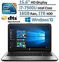 "HP Notebook 15.6"" HD Laptop PC, Intel Core i7-7500U, 16GB RAM, 1TB HDD, Intel HD Graphics 620, HDMI, Bluetooth, DVD +/- RW, DTS Studio Sound, Up to 8 hours Battery life, Windows 10"