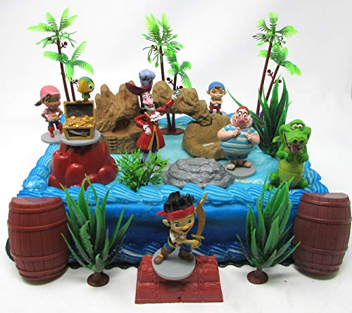 Neverland Pirate Themed Cake Topper Set Featuring Captain Hook, Smee, Tick Tock and Friends with Decorative Themed Accessories