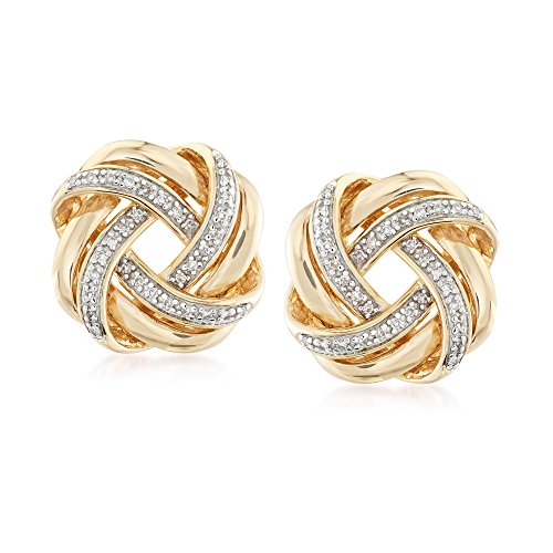 Ross-Simons 0.20 ct. t.w. Diamond Love Knot Earrings in 18kt Yellow Gold Over Sterling