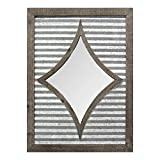 Stratton Home Décor S11562 Joanna Wall Mirror, Galvanized Metal/Natural Wood