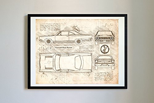 (DolanPaperCo #300 Plymouth Roadrunner 1969 Art Print Art Print, da Vinci Sketch - Unframed - Multiple Size/Color Options (16x20, Vintage))