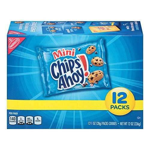 Chips Ahoy! Mini Chocolate Chip Cookies Snack Packs, 12 Count Box, (Pack of 4)
