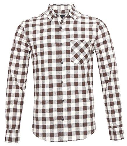 AVANZADA Men's Slim Fit Long Sleeve Plaid Button Down Flannel Shirt Brown (Madras Plain Front Short)