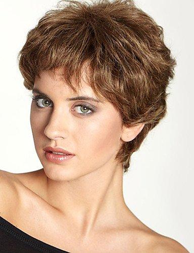 Pelucas de la manera conveniente y cómodo moda esponjosa superior corto ondulado monofilamento cabello humano (