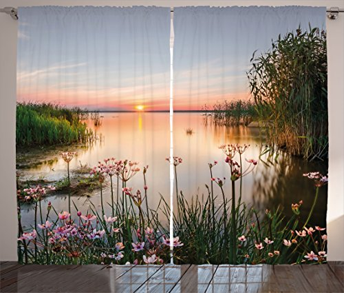 """Ambesonne Landscape Curtains, Chudskoy Peipsi Lake Scenery View in Nature with Flowers Leaves Artwork Photo, Living Room Bedroom Window Drapes 2 Panel Set, 108"""" X 90"""", Green Coral"""
