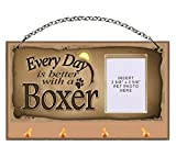 Boxer ''Every Day is Better With a Boxer'' Key and Leash Holder featuring Clear Pocket to Insert Your Photo