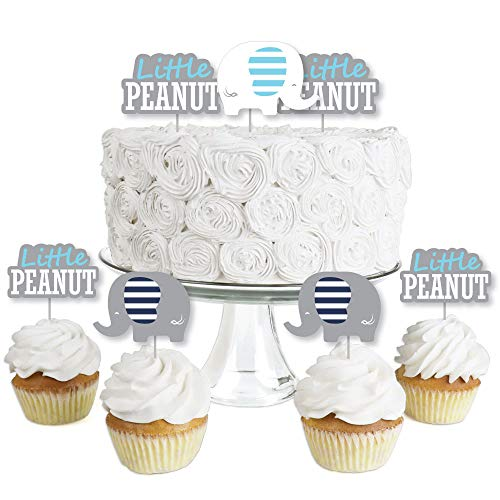Blue Elephant - Dessert Cupcake Toppers - Boy Baby Shower or Birthday Party Clear Treat Picks - Set of 24