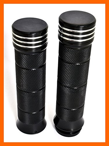 DEMONS CYCLE Black Billet Knurled Grips for Harley 08-Up Touring Throttle Fly-by-Wire Models